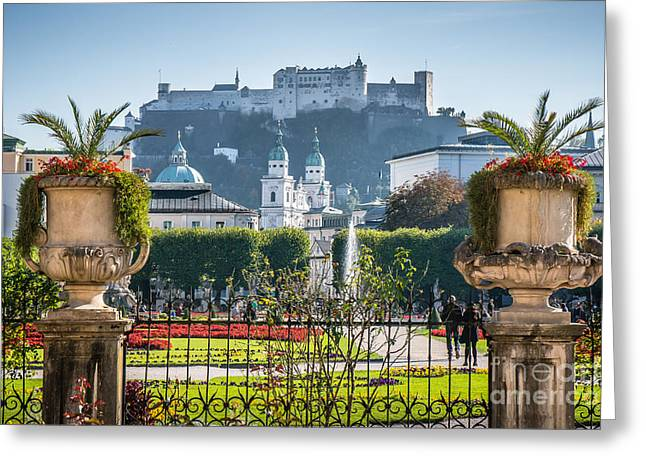 Famous Mirabell Gardens In Salzburg Greeting Card