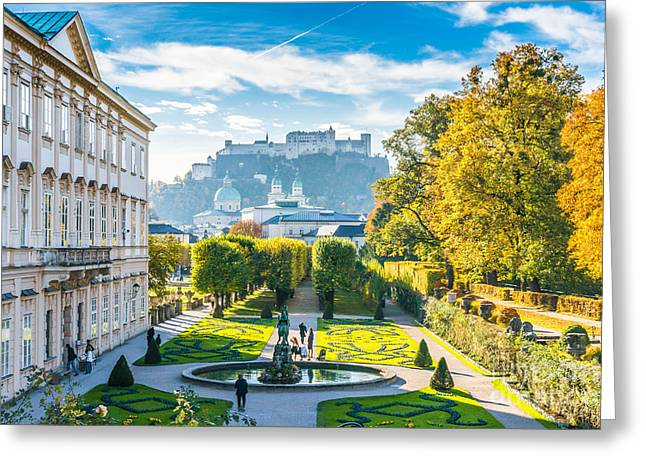 Famous Mirabell Gardens With Historic Fortress In Salzburg, Aust Greeting Card