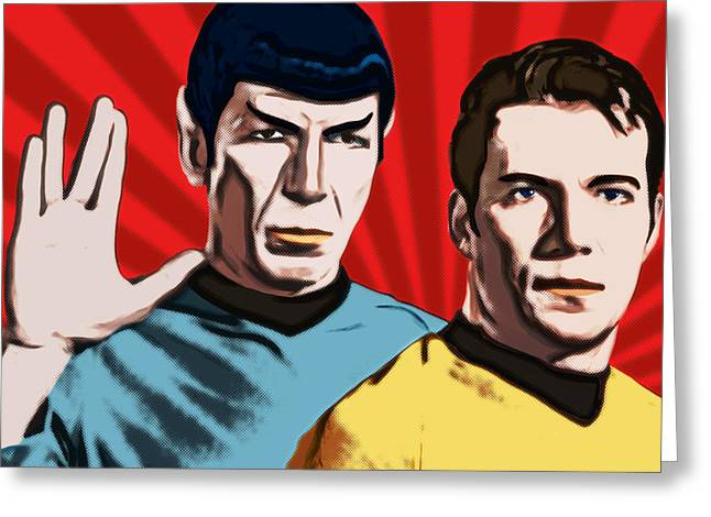 Famous Spock And Kirk Greeting Card by Tobias Woelki