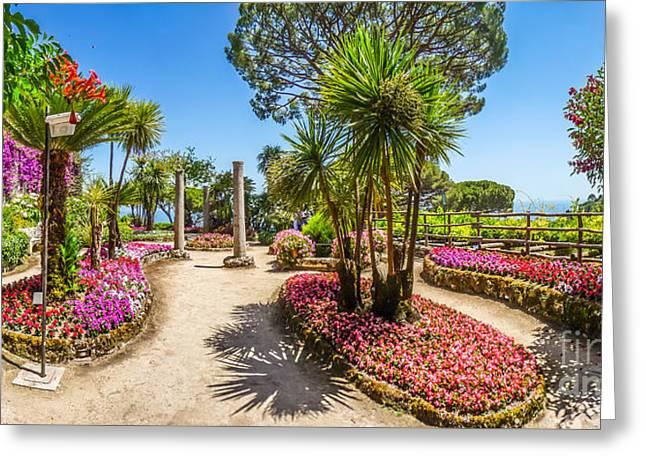 Famous Villa Rufolo Gardens In Ravello At Amalfi Coast, Italy Greeting Card