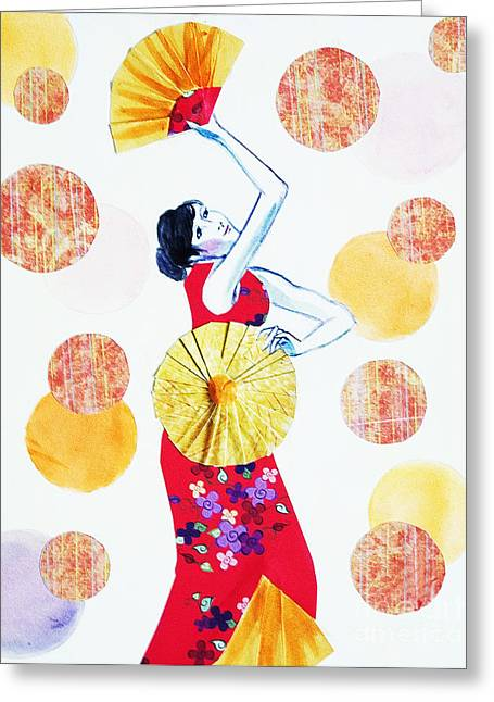 Greeting Card featuring the painting Fan Dance by Angelique Bowman