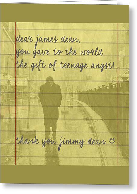 Fan Mail To James Dean Greeting Card by Martin James