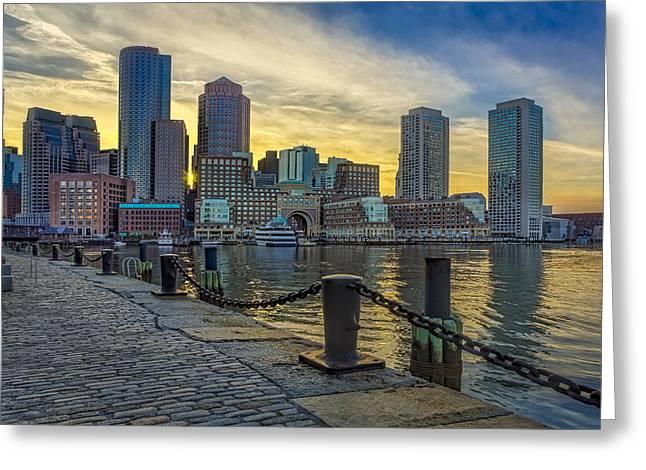 Fan Pier Boston Harbor Greeting Card