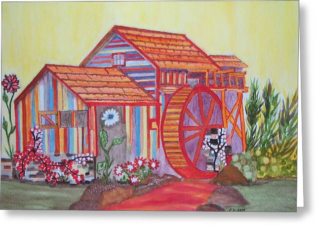 Fanasty Waterwheel Greeting Card by Connie Valasco