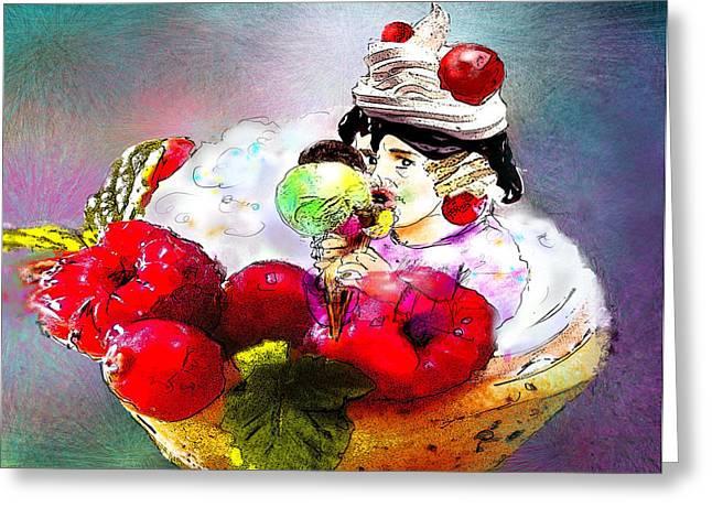 Fancy An Icecream With Me Greeting Card by Miki De Goodaboom