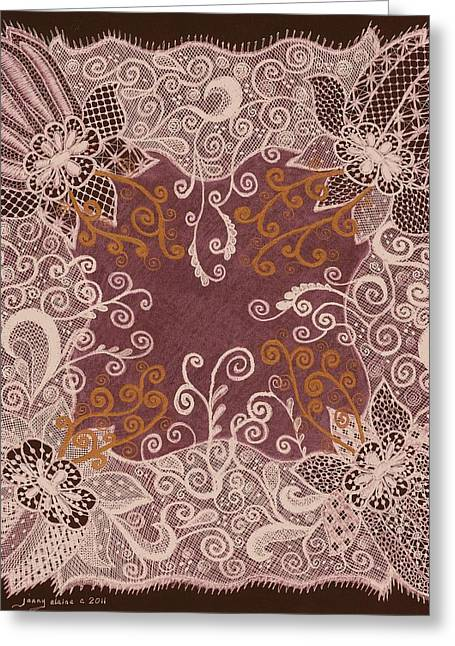 Fancy Antique Lace Hankie Greeting Card by Jenny Elaine