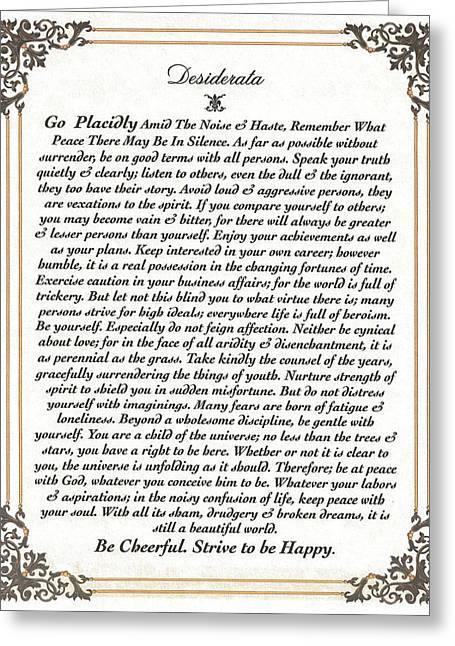 Fancy Border Desiderata Greeting Card