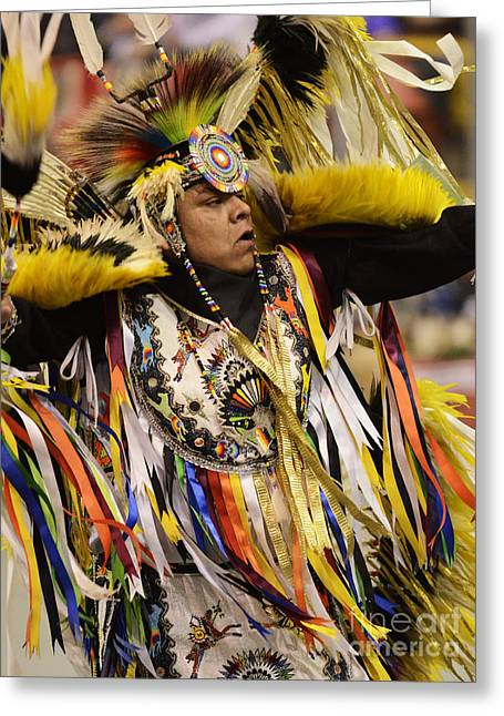 Pow Wow Fancy Dancer 2 Greeting Card by Bob Christopher