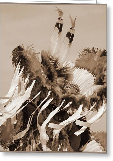 Greeting Card featuring the photograph Fancy Dancer In Sepia by Heidi Hermes