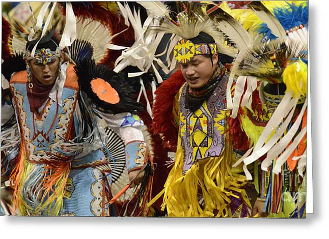 Pow Wow Fancy Dancers 7 Greeting Card by Bob Christopher