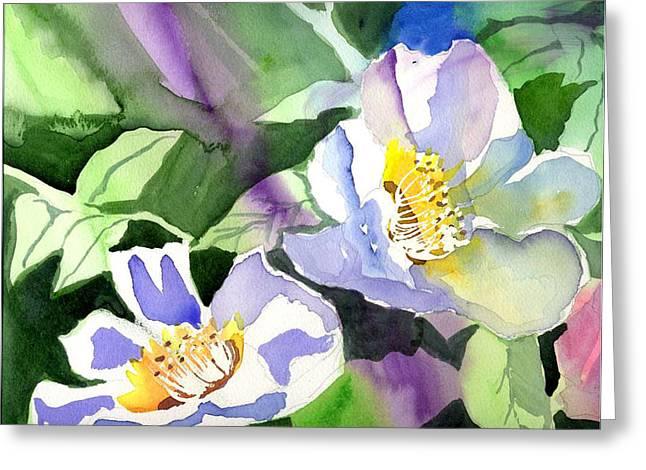 Fancy Flowers Greeting Card by Janet Doggett
