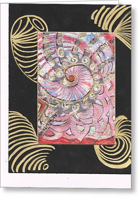 Fancy Shell With Golden Rings Greeting Card by Anne-Elizabeth Whiteway