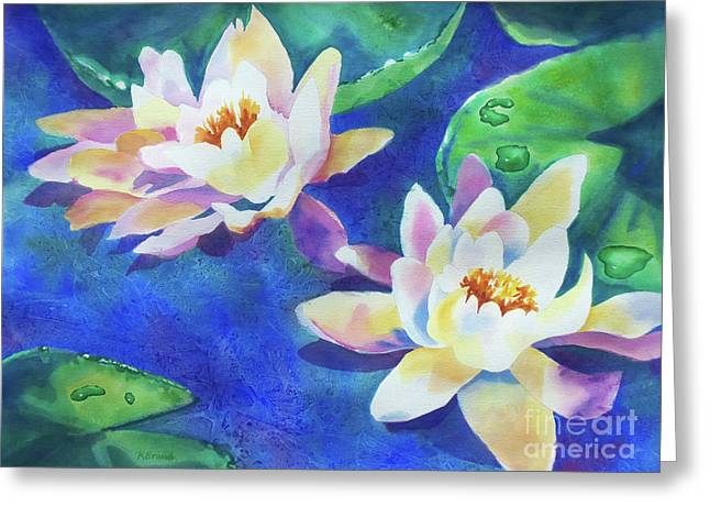 Greeting Card featuring the painting Fancy Waterlilies by Kathy Braud