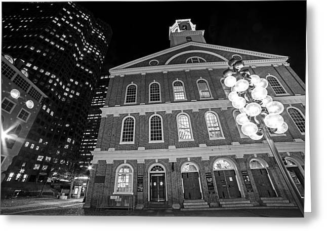 Faneuil Hall Marketplace Boston Ma Black And White Greeting Card