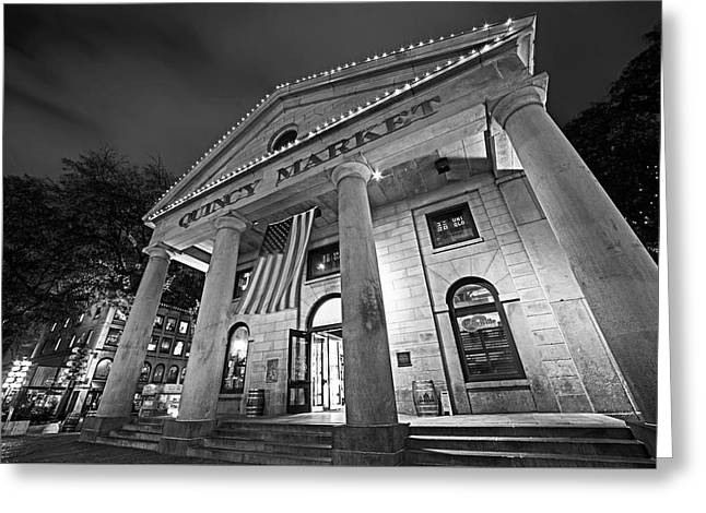 Faneuil Hall Quincy Market Boston Ma Black And White Greeting Card