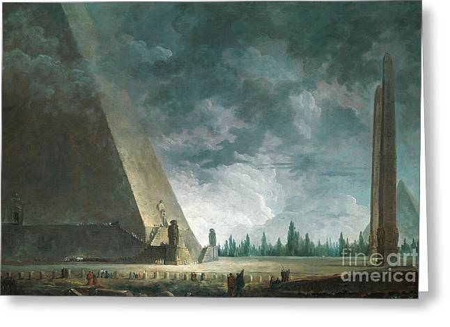 Fantaisie Egyptienne Greeting Card by Hubert Robert