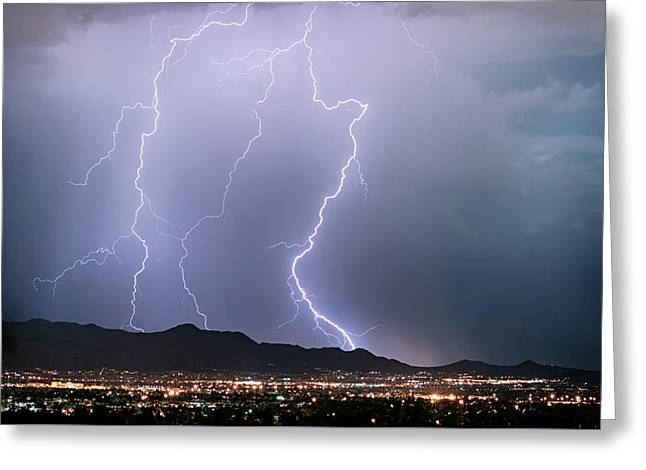 Fantastic Lightning Show Over City Lights Greeting Card by James BO Insogna