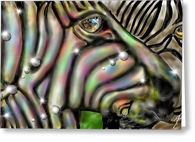 Greeting Card featuring the digital art Fantastic Zebra by Darren Cannell