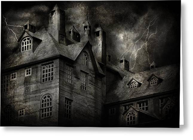 Home Owner Greeting Cards - Fantasy - Haunted - It was a dark and stormy night Greeting Card by Mike Savad