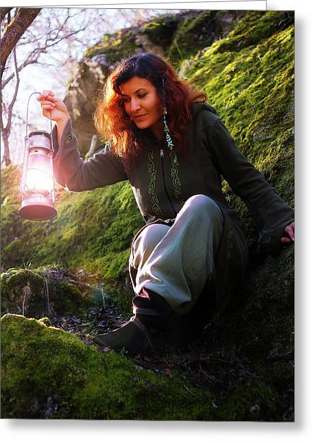 Fantasy Beautiful Woman With Color Light Lamps In The Moss Rocks Greeting Card