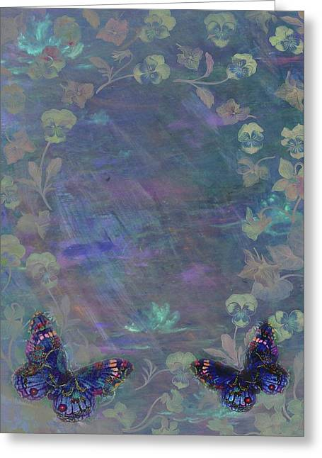 Greeting Card featuring the painting Fantasy Butterfly Painted Pansy by Judith Cheng