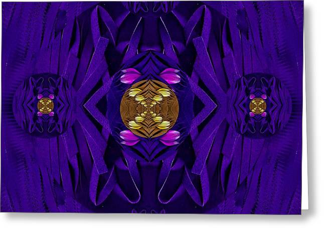 Fantasy Decorative Florals In Leather Landscape Greeting Card by Pepita Selles