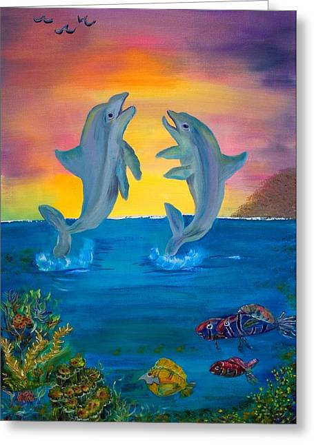 Fantasy Dolphins Greeting Card by Mikki Alhart