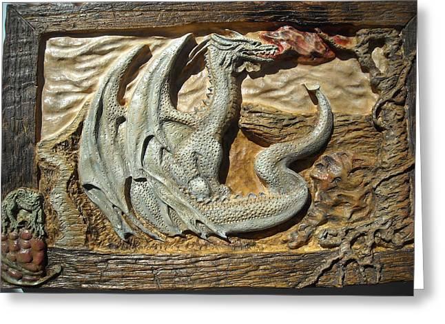 Fantasy Dragon Greeting Card by Doris Lindsey