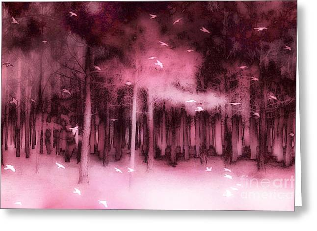 Fantasy Fairytale Pink Mauve Woodlands Trees Nature - Fairytale Woodlands Forest Greeting Card