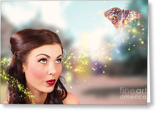 Fantasy Fine Art Beauty. Fairy Tale Butterflies Greeting Card by Jorgo Photography - Wall Art Gallery