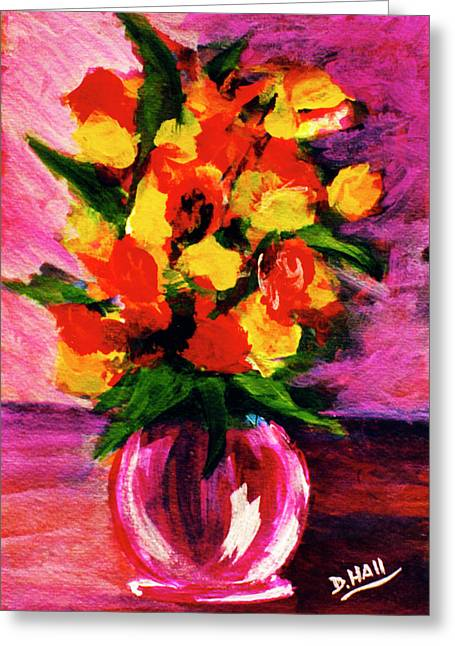Fantasy Flowers Still Life #118, Greeting Card by Donald k Hall