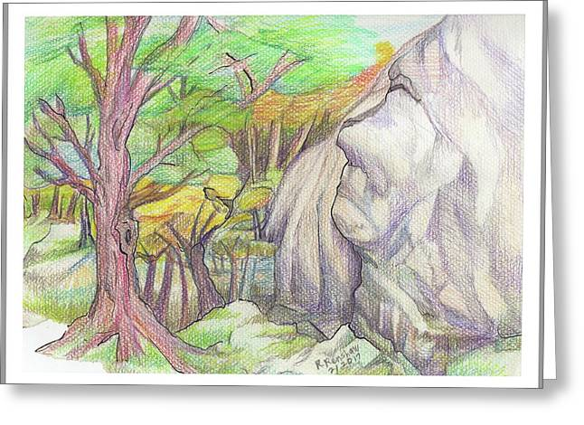 Fantasy Forest Rock Greeting Card by Ruth Renshaw