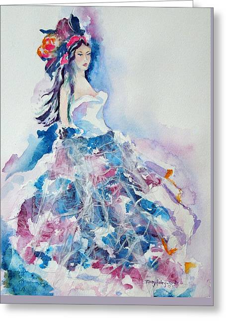 Greeting Card featuring the painting Fantasy Mist by Mary Haley-Rocks