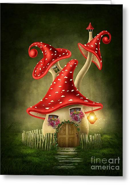 Fantasy Mushroom House Digital Art By Elena Schweitzer