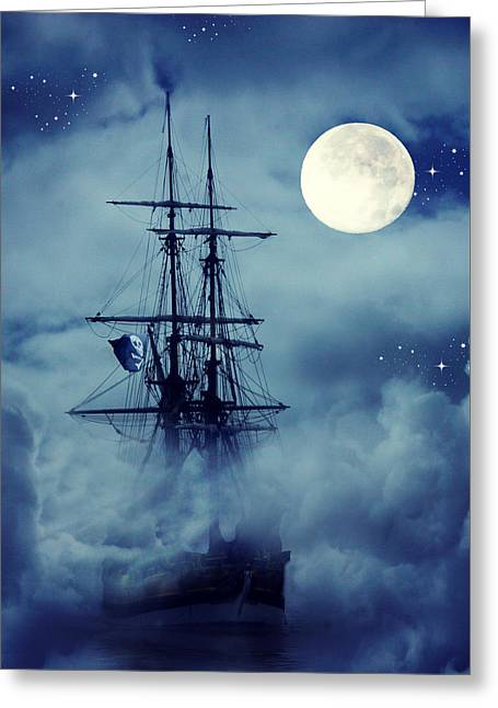 Fantasy Pirate Ship Greeting Card