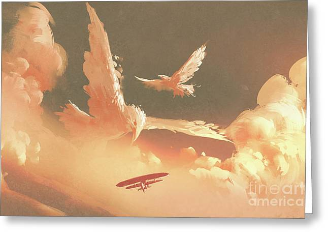 Greeting Card featuring the painting Fantasy Sky by Tithi Luadthong
