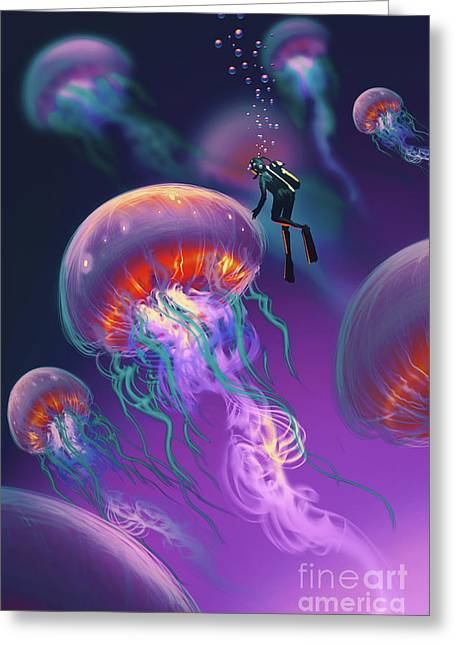Greeting Card featuring the painting Fantasy Underworld by Tithi Luadthong