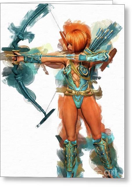Fantasy Warrior Woman By Mary Bassett Greeting Card by Mary Bassett