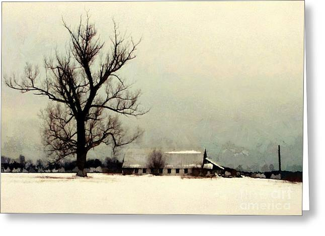Greeting Card featuring the photograph Far From Home - Winter Barn by Janine Riley