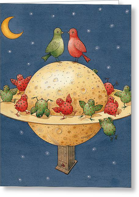 Far Planet Greeting Card by Kestutis Kasparavicius