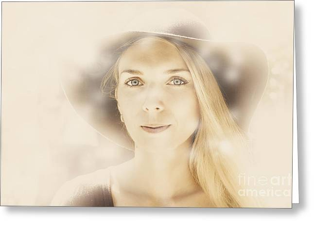 Faraway Fashion Female Greeting Card by Jorgo Photography - Wall Art Gallery