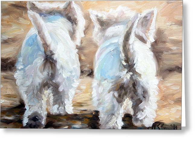 White Dogs Greeting Cards - Farewell Greeting Card by Mary Sparrow