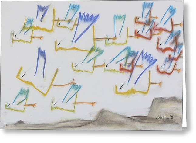 Greeting Card featuring the pastel Farfuglar Yfir Landi by Stefan Hermannsson