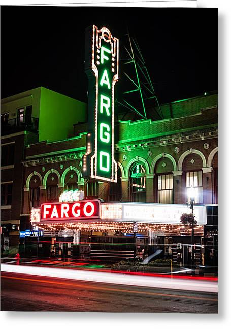 Theater Town Greeting Cards - Fargo ND Theatre at Night Picture Greeting Card by Paul Velgos