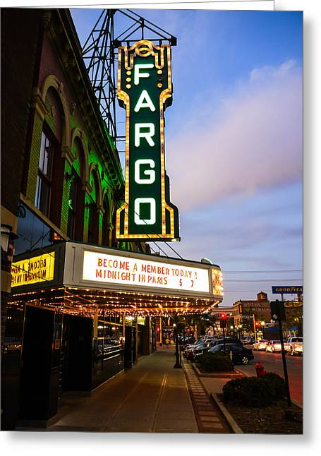 Theatre Photographs Greeting Cards - Fargo Theater and Downtown Along Broadway Drive Greeting Card by Paul Velgos