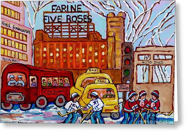 Farine Five Roses Montreal 375 Hometown Hockey Hotel Bonaventure Tour Bus Canadian Art C Spandau Art Greeting Card by Carole Spandau