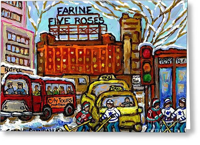 Farine Five Roses Sign Downtown Montreal Scenes Street Hockey Game Canadian Art Carole Spandau       Greeting Card