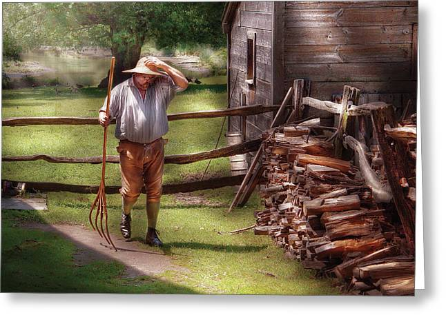 Farm - Farmer - Chores Greeting Card by Mike Savad