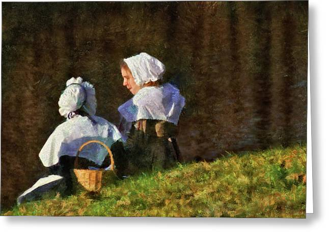 Farm - Farmer - The Young Maidens Greeting Card by Mike Savad