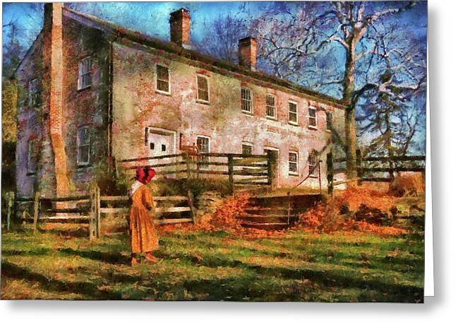 Farm - Farmer - There Was An Old Lady Greeting Card by Mike Savad